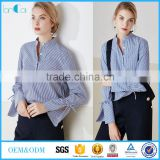 The latest fashion long sleeve blouse design with ruffle cuff in blue white stripe color