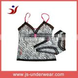 High quality mesh print camisoles lace trim camisole set