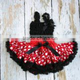 Persnickety Toddler Girls Red Polka Dot Petti Skirt With Black Chiffon Vest Outfit Baby Girls Birthday Pettiskirt Chiffon Sets