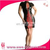 leather dress laced up china factory price erotic night club faux leather suit short sleeve