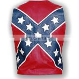 HMB-4930A LEATHER VEST FLAG COWHIDE BIKER VESTS COAT