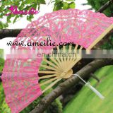 Pink wedding battenburg lace hand fan