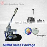"Great Promotion for 2""50MM Badge Maker Button Machine+500 Sets Metal Pin back+Paper Cutter / 50MM Sales package"