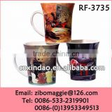 Hot Sale Cartoon Print Flare Shape Ceramic Wholesale Large Soup Mugs Promotion Made in Zibo