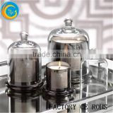 Round Glass Bell Jar Chocle Dome/ Sliver Candle Holder / Candle Lamp /Glass Candelabra For Home                                                                         Quality Choice
