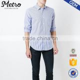 Custom mens blue and white striped dress shirts with curved hem