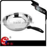 2016 stainless steel frying pan with bakelite handle/ flat bottom wok/ kitchen equipment