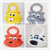 FDA approval Customized Printing cartoon Animal Patterns Kids waterproof silicone bibs with Large button size