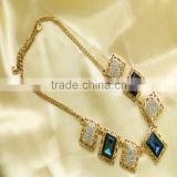Fashion Blue Crystal Flower Statement Necklace, Gold Plated Chain Necklace, Beautiful Fake Crystal Necklace