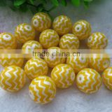 High Quality 20MM Yellow Waves Strips beads 2014 New Hot sale Fashion Acrylic Pearl Zig zag Chevron Beads