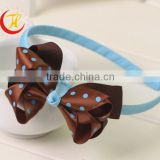Hot-sales girl light blue polka dot bow plastic Headband Toddler baby large ribbon bow with hard Headband wh-1831