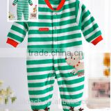 popular green stripe newborn baby jumpsuit cute long sleeve jumpsuit
