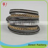 New Fashion Jewelry Handmade Real Fine Leather Bracelet for men