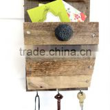 Shabby chic wooden wall mail shelf with hooks                                                                         Quality Choice