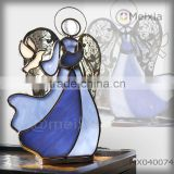 MX040074 soldered tiffany style stained glass angel holder candle holder for christmas decoration item wholesale