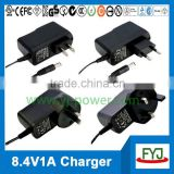 automotive battery charger 8.4v 1000ma 2s battery pack charger with EU US UK SAA plug YJP-084100