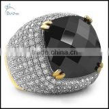 wholesale black rose cut cz gold bling bling ring