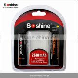 Soshine 18650 Li ion 2600mAh 3.7V rechargeable Battery with protected used Samsung 18650 cells 18650 battery