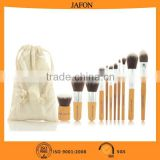 11pcs hot sell ECO-friendly cosmetic makeup brush bamboo handle brush set with gunny bale