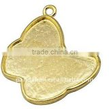 Brass Necklace Pendant Cabochon Settings(KK-Q081-G)