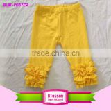 Best selling girls triple ruffle leggings kids tight pants solid gold color baby icing pants