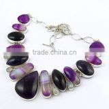 Simple !! Amethyst & Stripped Onyx & Rainbow Moonstone 925 Sterling Silver Necklace, Fine Silver Jewelry, Silver Jewelry