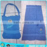 2015 cotton towel fabric logo embroidery hot sale connected beach towel and bag set