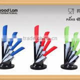 "5pcs Knife set 3""+ 4""+5""+6"" Ceramic Kitchen Knife set in Acrylic Block with Colorful Plastic Handle"