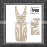 Exquisite Leather Stripe Sleeveless Women Evening Party Nude Bandage Dress