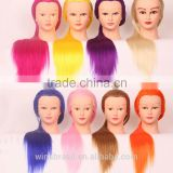 Low Price synthetic hair/human hair training head for school,colorful beautiful mannequin head