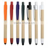 Eco-paper pen body ball point pen with tip touch screen stylus for office