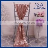 SH005B Nice new elegant fancy wedding christmas rose gold sequin chair sash with flower