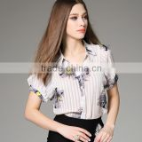 Fashion Women Blouses 2016 Summer Pleated Collar Design Tops Button Front Closure Floral Print Chiffon Latest Blouse Styles
