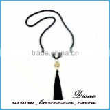 Single Layer Long Chain Black Agate Bead Tassel Fashion Necklace