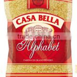 Pasta Soft Wheat Semolina Alphabet - 400 g. Private Label Available. Made in EU.