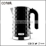 Cotek Kitchen appliance of electric kettle 220w 1.7L / Boiler 3000w 1.5L with Chrome base Concealed heating element