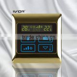 Good Quality IVOR 220V Central Air-Conditioner Thermostat Digital AC Thermostat Switch SK-AC2000B Bright Gold Metal Frame