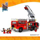 Mini cheap plastic toy trucks educational blocks firefighting car toys