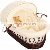 Waffle Hooded Moses Basket Antique hand made willow /wicker baby basket baby wicker baskets