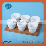 espresso mug set/ wooden coffee tray for 6 person,cup dish ceramic,ceramic tea cups no handle