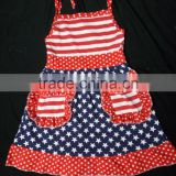 New 4th of july black red slip dress boutique chicldren's girl patriotic fashion dress baby girls dress with lovely pocket