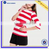Wholesale Hot Sale Women Sweet Stripe Thin Short Sleeve Bamboo T Shirt