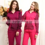 Cute design pajamas for winter Leopard french terry active pajamas with hood and pocket women pajamas
