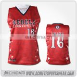 100% Custom polyester women lacrosse shooter jerseys/wholesale shooting shirts