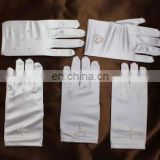 Hot Selling!Children's Satin Wrist Length White Pearl /Diamond Beaded Appliqued For Wedding Dress Full Finger Communion Gloves