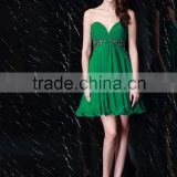 2016 sweet heart wrinkle handmade beading lotus leaf strapless short chiffion cocktail dress