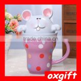 OXGIFT Hand-painted cartoon rabbit animal ceramic Mug