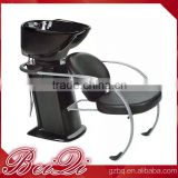 Simple style station beauty hair wash equipment,portable men's salon shampoo chair glass wash basin price