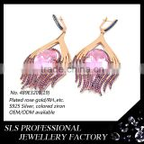 Trendy Micro Paved Jewelry Wholesale 925 Jewelry Pink Zircon Rose Gold Plated Silver Earrings with English Lock Finding