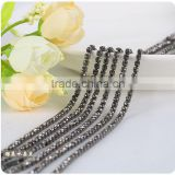 SS6 to SS38 Gunmetal Wholesales AAA Quality Shinny Crystal Cup Roll Rhinestone Chain for Jewelry Cheapest